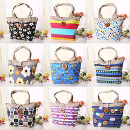 Wholesale 2016 Hot Fashion Handbags For Women Colors Striped Floral Canvas Shopping Bags Creative Large Women Bags Totes With Button