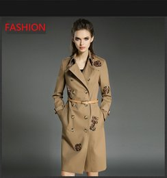 2017 autumn and winter new European style double breasted women stylish elegance Khaki windbreaker jacket women long coat