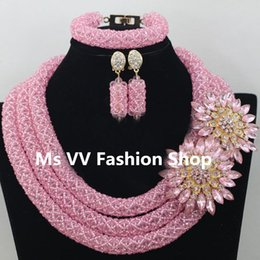 2019 Smart pink party gift Nigerian Wedding African Beads Jewelry Sets Costume African Crystal Beads Necklace Jewelry Sets Free Shipping