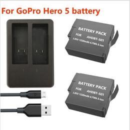 2017 usb gopro Nuevo cargador dual de la batería AHDBT-501 + USB de 2pcs 1220mAh para GoPro 5 Hero5 AHDBT 501 usb gopro limpiar