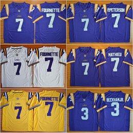 Wholesale 7 Patrick Peterson Tryann Mathieu Odell Beckham Jr Leonard Fournette LSU Tigers College Football Jerseys New Stitched Jersey