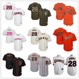 Wholesale Majestic - New #28 Buster Posey San Francisco Giants Mens SF Black White Fashion Stars Cream Orange Pull Down Gray Majestic MLB Baseball Jerseys