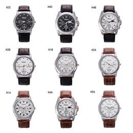 Descuento relojes de pulsera piezas Ginebra números romanos mira los relojes de pulsera de cuarzo, hombres de negocios de la manera miran el reloj de la correa de 6 unidades de un lote variado estilo GTPH47