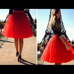 Wholesale Streets Style In Paris Tutu Skirts Spring And Autumn Eye Catching Red Knee Length Tulle Skirts Chic Ball Gowns For Women