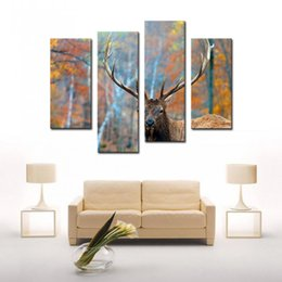 4 Panel Elk In Forest Autumn Wall Art Painting The Picture Print On Canvas Animal Pictures For Home Decor Decoration Gift