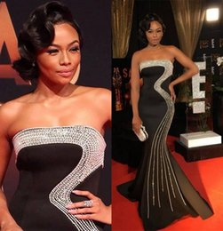 Wholesale Stunning Black Red Carpet Mermaid Celebrity Dresses Beaded Plus Size Black Girls Custom Made Long Formal Dresses Evening Wear Gowns