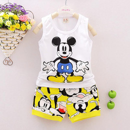 Wholesale Kids Cartoon images Summer suit cotton Elephant and mickey vest and pants baby Korean casual fashion outfits toddler boy clothing set K070