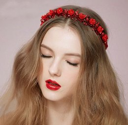 Wedding Bridal Hair Band Flower Headband for Women Red White Hairpiece Crown Tiara Hair Jewelry Bridal Accessories Fashion Handmade Hallowee