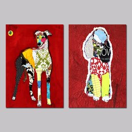 Wholesale 2Pcs set Red Animals Poodle Dogs Puppy Graffiti Posters Decoration Wall Art Pictures Canvas Painting For Living Room Unframed