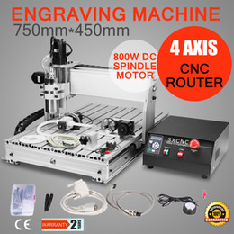 Wholesale 4 AXIS USB CNC ROUTER ENGRAVER ENGRAVING CUTTER T6040 with W Spindle with four axis rotary axis water cooling
