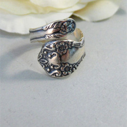 New Hot Fashion Antiqued Spoon Ring Wrapped Adjustable Handmade jewelery Adjustable Ring Thumb Ring
