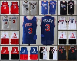 Wholesale A High Quality new arrival Philadelphia Allen Iverson retro white black blue jersey for mens