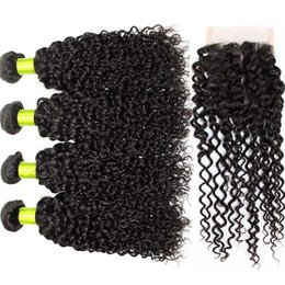 Wholesale 8A Brazilian Virgin Hair With Closure pc AHA Hair Products With Closure Brazilian Kinky Curly Virgin Hair With Closure