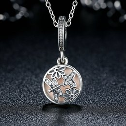 Springtime Adorable Sterling Silver Dangle Charms with Butterfly Dragonfly & Florals Soft Pink Enamel & Clear CZ for Pandora Bracelets S285