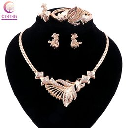 2016Gold silver plated with earrings bracelet Statement necklace Jewelry sets crystal Trendy Boho women necklace for party wedding