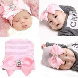 2016 Unisex Kids Boys and Girls Stripe Bow Caps Newborn Baby Fall Winter Crochet Diamond Pink Hat Kids Princess Bowknot cap babies hat