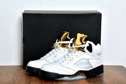 2016 Retro 5 Olympic mens Basketball Shoes white black gold top quality men Sport Shoes new cheap 5s Sneakers US 8-13