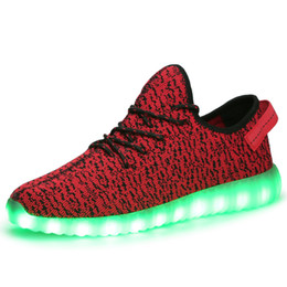 Wholesale 2016 Top LED Shoes light colorful Flashing with USB Charge Unisex Fluorescent Couple Shoes For Party and Sport Casual Shoes free by DHL