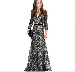 Autumn Spring Princess Kate lace 3 4 sleeve lady sexy black long dress Mesh fashion Slim star style women evening party dresses flower