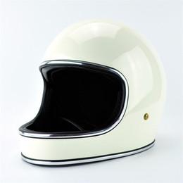 Compra Online Cascos de carreras de la vendimia-Wholesael Marca de fábrica de Japón TTCO Thompson Casco retro de la motocicleta de la cara llena Ghost Rider que compite con los cascos brillantes de la vendimia capacetes motociclismo