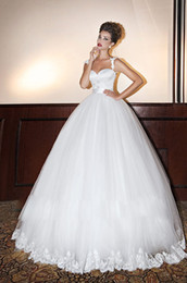 Tulle Lace Ball Gown Wedding Dresses Floor Length Spaghetti Straps Dress Open Back Sexy Vestidos