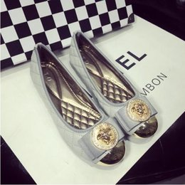 Wholesale Europe Flat Shoes Woman Ballerina Flats Autumn Womens Flats Shoes Embroider Plaid Bow Metal Round Toe Women Shoes