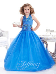 2016 New Girl's Pageant Dresses Halter Neckline Dropped Waist A-line Royal Blue Organza Skirt Birthday Party Kids Flower Dresses