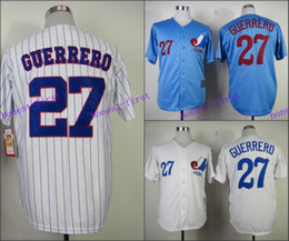 Wholesale Montreal Expos Jersey Vladimir Guerrero Jersey White Pinstrips Bule Cool Stitched Throwback Baseball Jersey Embroidery Logo