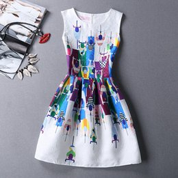 Wholesale Sleeveless Womens Dresses Cute White Dresses with Printed Bicycle Race Casual Style Zipper Empire for Ladies Dresses