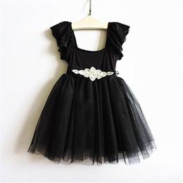 Nouvelles robes de filles de noël à vendre-Robes de fête de Noël nouvelles filles noirs en dentelle mouche manches en tulle tutu robe de dentelle en dentelle robe en strass robe en tulle robe princesse chidren A9915