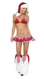 Wholesale Christmas Stripper Costumes - Ladies Sexy 5 Piece Christmas Santa Stripper Lingerie Fancy Dress Costume Outfit BLS3110 S-L