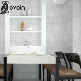 Wholesale Faux Worn Brick Textured Plain Concrete Slab Wallpaper Square Roll Industrial Chic Concrete Block Looking Wall Paper For Bedroom
