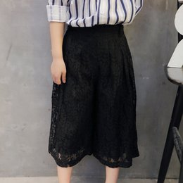 Wholesale 2016 Kids Girls Fashion Lace Harem Pants Black Loose Wide Leg Pants Lace Party Pants