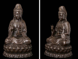 Wholesale Art Deco Sculpture Avalokitesvara Guanyin Kwanyin Buddha Hold Vase Bronze Statue