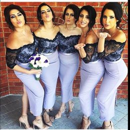 2016 Sexy Bridesmaid Dresses Off Shoulder Black Lace Long Sleeves Sheath Lilac Split Wedding Guest Wear Party Dresses Maid of Honor Gowns