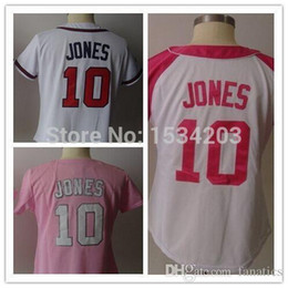 Wholesale 2016 New Chipper Jones women Jersey white pink Atlanta female baseball jerseys cheap authentic sport Embroidery Logos High quality