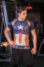 Wholesale Superman Transform Metal Batman Sports Tights Super Hero Slim Muscle Quick Dry Men s Fitness Clothes best quality best service
