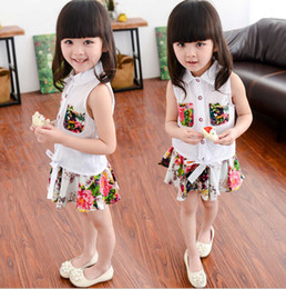 2016 Girls Summer new suit for children children sleeveless shirt + floral skirt shirt skirt suit children's children