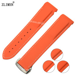 Orange Diver Rubber Band 22mm Watch Band Strap With Deployment Clasp