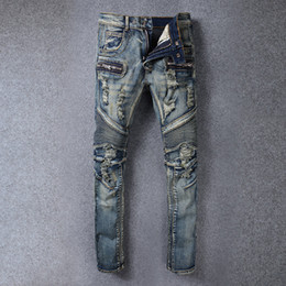Wholesale 2016 Summer Balmain Distressed Moto Biker Denim biker jeans Slim fit COTTON WASHED JEANS Mens Balmain jeans