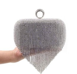 Elegant evening bags handmade rhinestone and tassel clutch handbags party bags for womenEuropean styles