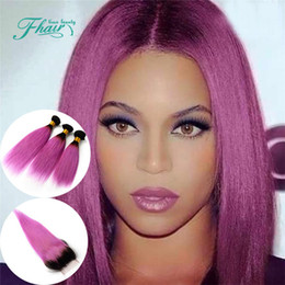 Full Cuticle Products Ombre 1B Pink 8A Indian Hair With Closure Straight Human Hair 1B Pink Two Tone 4Pcs Lot Omber Hair Extensions