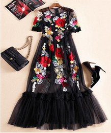 Wholesale The new Europe and the United States women s spring The runway looks heavy net yarn embroidered flower long dress