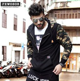 Wholesale Autumn Tide Brand XL XL Men s Thicken Hooded Sweater Plus Fertilizer to Increase Sweater Stitching Camouflage Hooded sport jacke