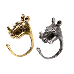 Wholesale 2016 New Arrival of Animal Series Rings Lovely Rhino Shaped Metal Rings in Jewelry Resizeable for ALL Cute ZJ