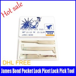 Crédit rapide à vendre-100pcs / lot gros James Bond Credit Card Verrouillage pick Set Serrurerie Outils de verrouillage Choisissez Mini Outils bateau rapide