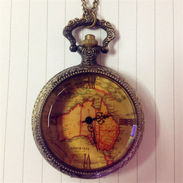 Wholesale Retro Antique World Map Pattern Chain Link Pocket Watch Men Women Casual Necklace Pendant Quartz Watch Hour Clock Reloj New