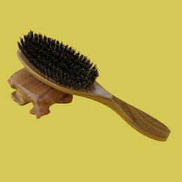 Wholesale Hair Brush Wood Handle Boar Bristle Beard Brush Comb Detangling Straightening Curly Hair Brush Comb High Quality Fast Delivery