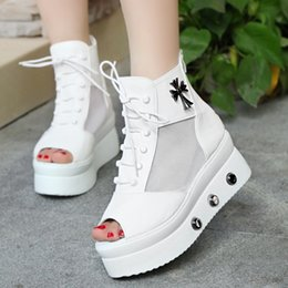 new mesh sandals slope with thick crust fish head shoes high-top muffin mesh high-heeled shoes
