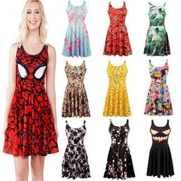 Wholesale Sexy Free Women Men - Retail 214 style Women's 3D printing spider man batman galaxy prints elastic summer sexy Girl skater one-piece pleated vest dress